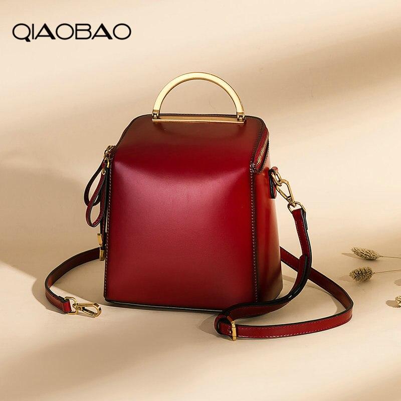 QIAOBAO 2018 nouveau rétro Véritable Sac À Dos En Cuir une épaule sac portable sac version Coréenne Dames de Vache sac à dos