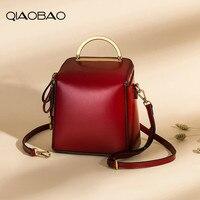 QIAOBAO 2019 new retro Genuine Leather Backpack one shoulder bag portable bag Korean version Ladies Cowhide backpack