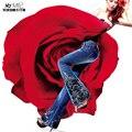 2017 nova primavera estilo folk bellbottom coréia do sexo feminino bordados de flores esticar calças perna larga fêmea magro calça jeans flare