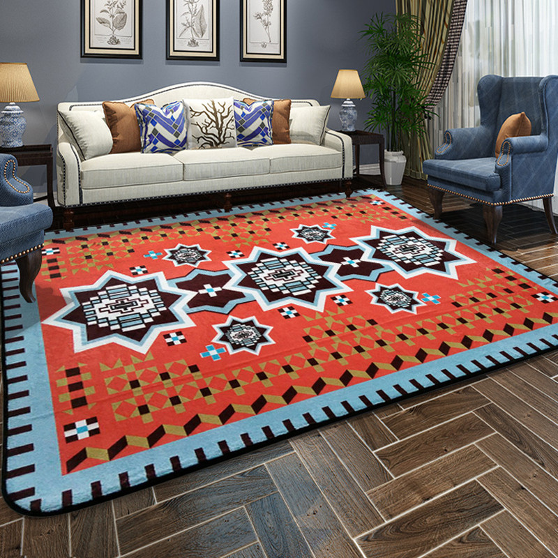 Mediterranean style Carpet Living Room Large area Carpets Red And Blue Bedroom Decor Rugs Household Rectangular Floor Mat RugMediterranean style Carpet Living Room Large area Carpets Red And Blue Bedroom Decor Rugs Household Rectangular Floor Mat Rug