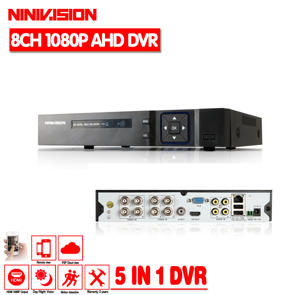 Hot 8CH AHD DVR 1080P 1080N AHD N H CCTV Recorder Camera Onvif Network 8 Channel