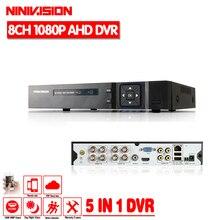 חם 8CH AHD DVR 1080 p 1080N AHD N H CCTV מקליט מצלמה Onvif רשת 8 ערוץ IP NVR 1080 p 4CH אודיו קלט ריבוי שפות