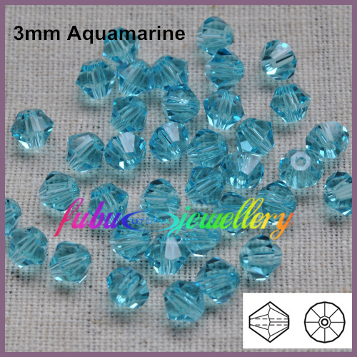 Free Shipping! 720pcs/Lot, AAA Chinese Top Quality 3mm Aquamarine Crystal Bicone Beads