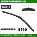 Rainfun dedicado lâmina de limpeza do carro para peugeot 207 (06-12), 26 + 17 INCH auto limpador com alta qualidade de recarga de borracha, 2 pcs um lote