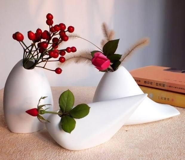 New Design Flower Pot Table Top Vase Ceramic Pot Home Decoration Office Desk Decor Brief White