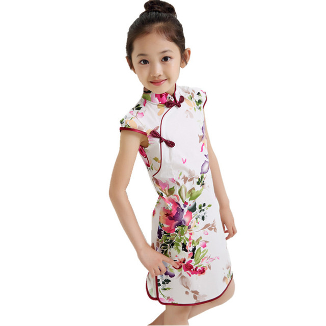 Summer Chinese Traditional Dress Vintage Floral Pattern Girls Dresses Cheongsam Wedding Party Costume Children Clothing 3-14Y