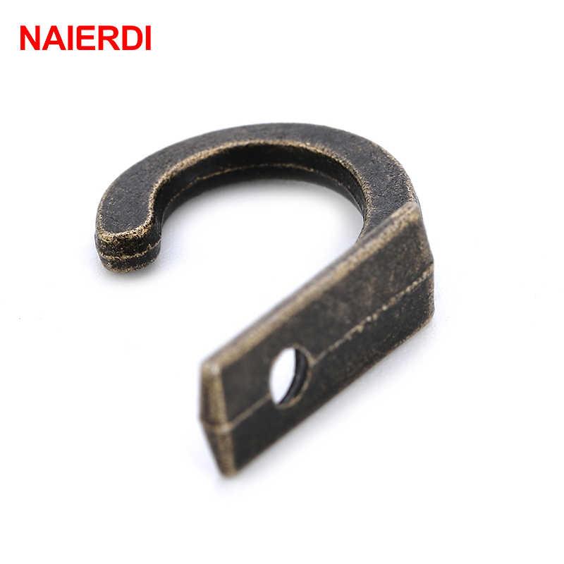 NAIERDI 30 قطعة السنانير العتيقة الصغيرة جدار شماعات منحني مشبك القرن قفل المشبك هوك ل صندوق مجوهرات خشبي الأثاث الأجهزة