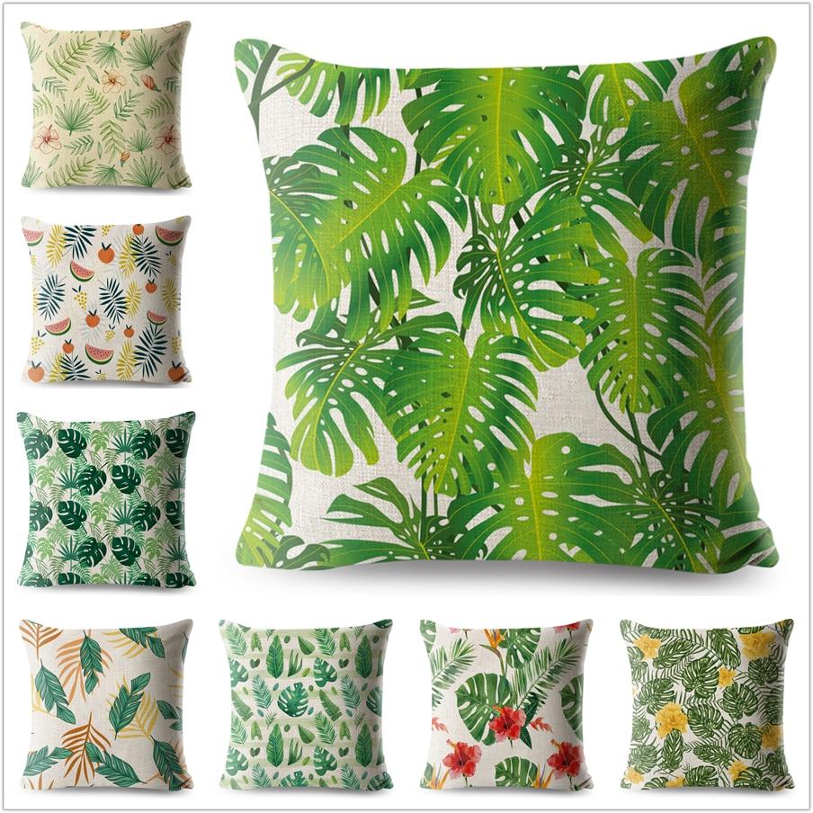 Tropical Palm Green Leaf Pillow Case Plant Linen Cotton 45*45 cm Pillowcase for Sofa Home Decorative Printed Throw Cover Cushion