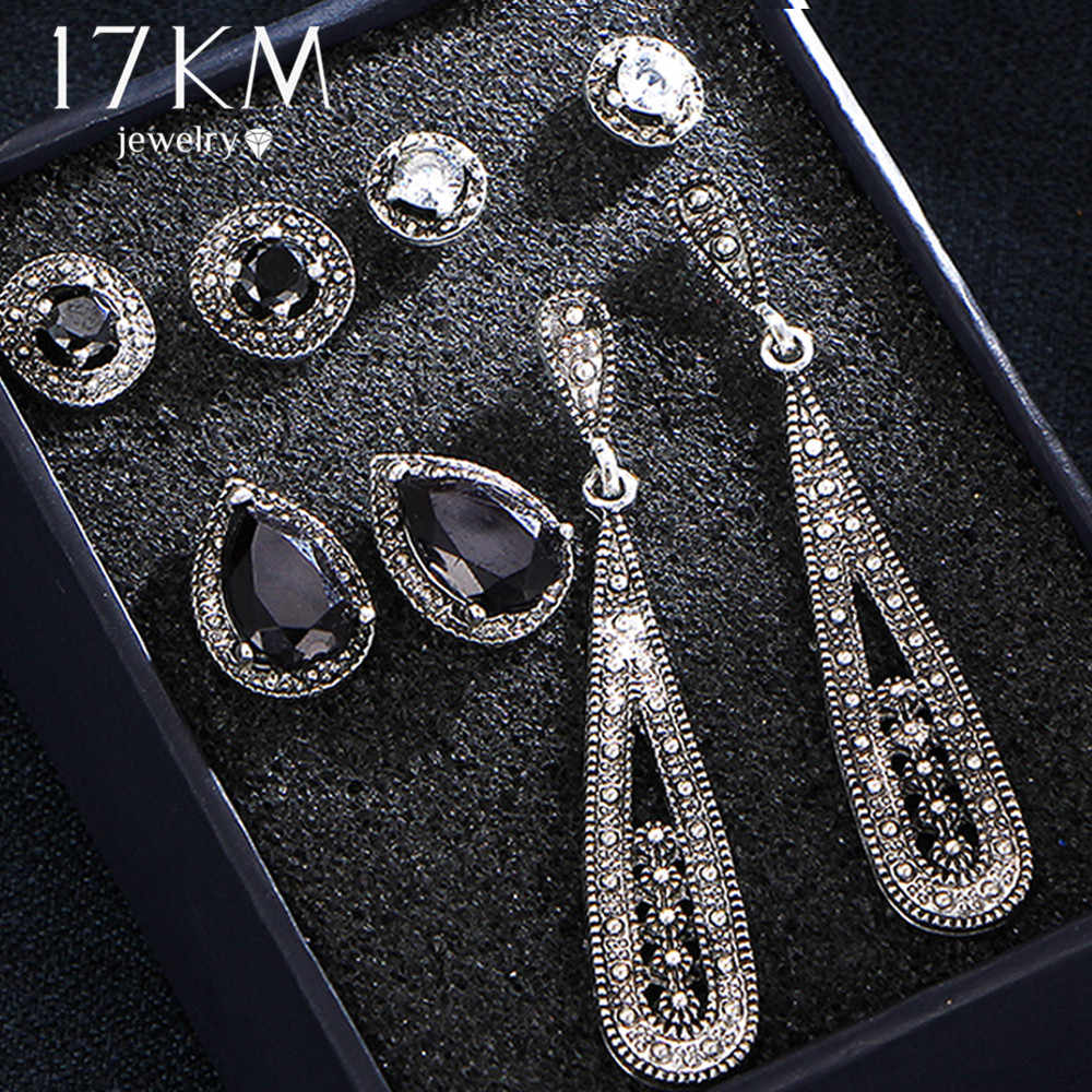 9 Design Vintage Water Drop Crystal Earrings Set For Woman Black Stone Silver Color Geometric Round Stud Earrings Boho Jewelry
