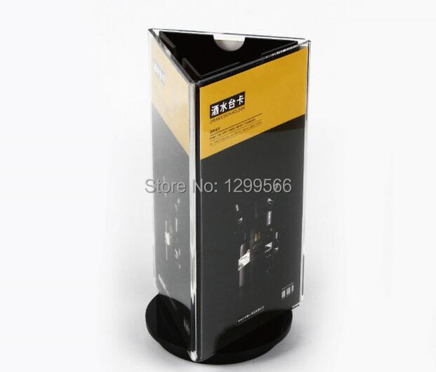 Exhibition Stand Rota : Rotatable acrylic restaurant menu card three sides display