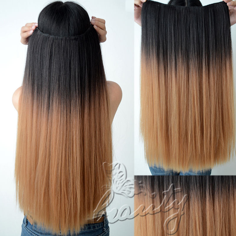 Hot 24 Long Dip Dye Ombre Hair Weft Clip In Extension Hair
