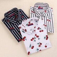 Dioufond женские блузки с вишнями рубашка с длинным рукавом отложной воротник Цветочная блузка размера плюс 5XL Женская винтажная хлопковая рубашка