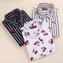 Dioufond Women Cherry Blouses Long Sleeve Shirt Turn Down Co