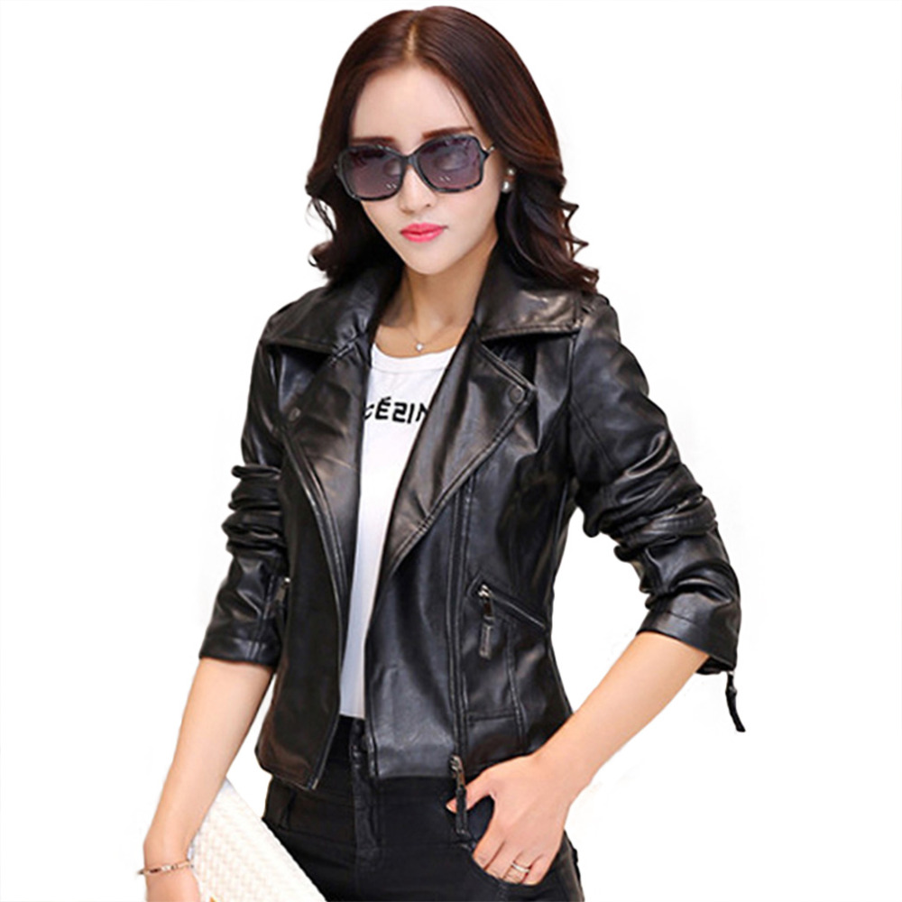 Hot New 2016 Women Faux Leather Jackets jaqueta couro Winter Coat ...