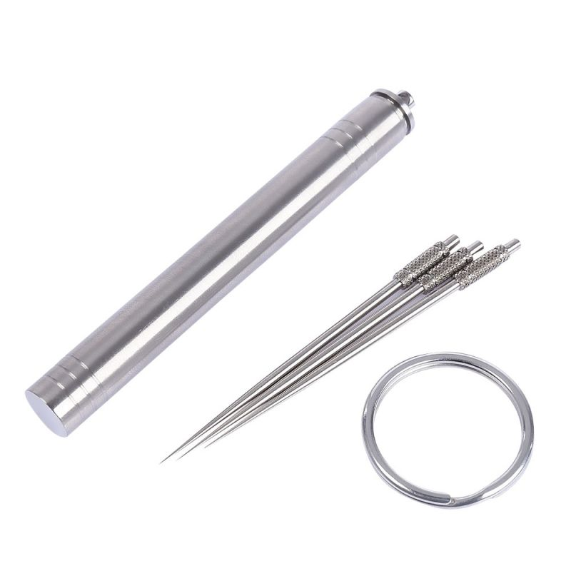 Portable Titanium Alloy Waterproof Toothpick Tube With A Key Ring Outdoor Traveling Tool New Style