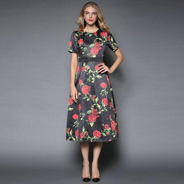Lady S Autumn Dress 2015 Fashion Runway Short Sleeve A Line Slim