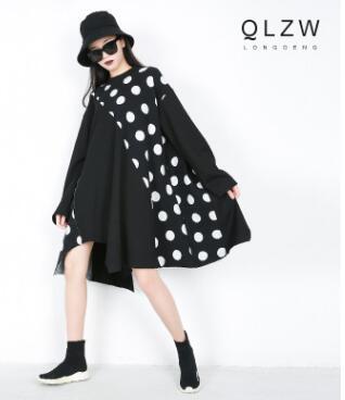 Vintage à pois blanc noir élégant coton robe mode imprimé rétro femmes à manches courtes grande taille printemps robe ys039