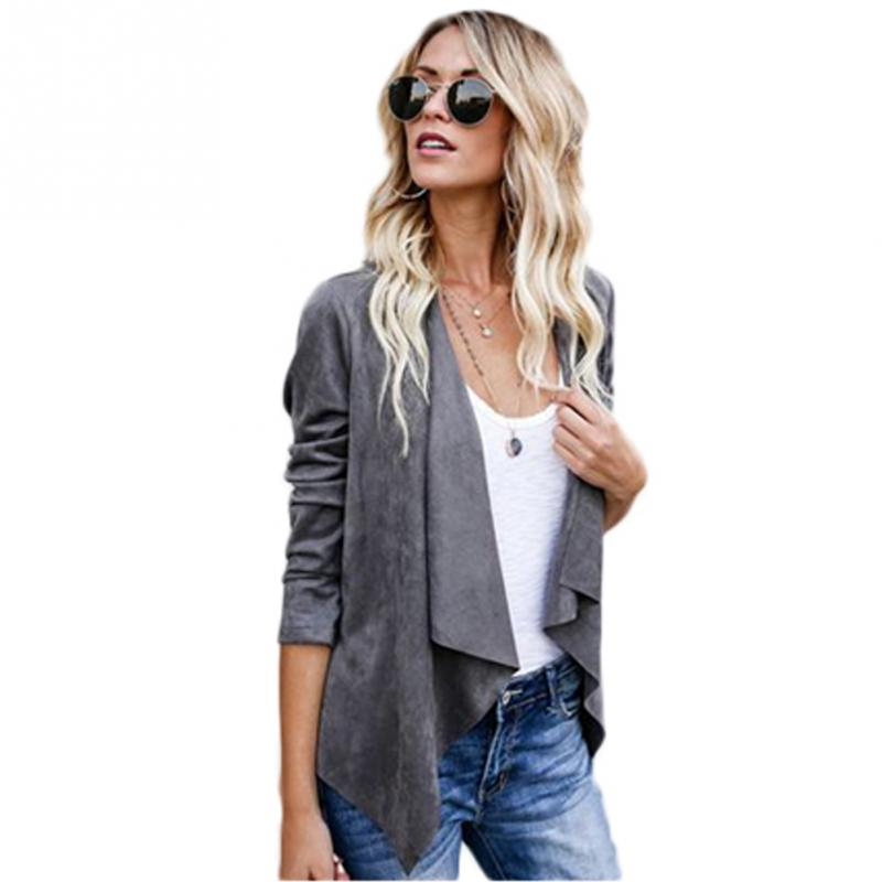 Autumn Coat Jacket Women Fashion Faux   Suede   Lapel Collar 3/4 Sleeve Open Stitch Biker Jacket for Office Lady Solid Color
