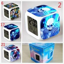 Anime Game Undertale Sans 7 Color Change Digital Alarm Clock LED Clocks