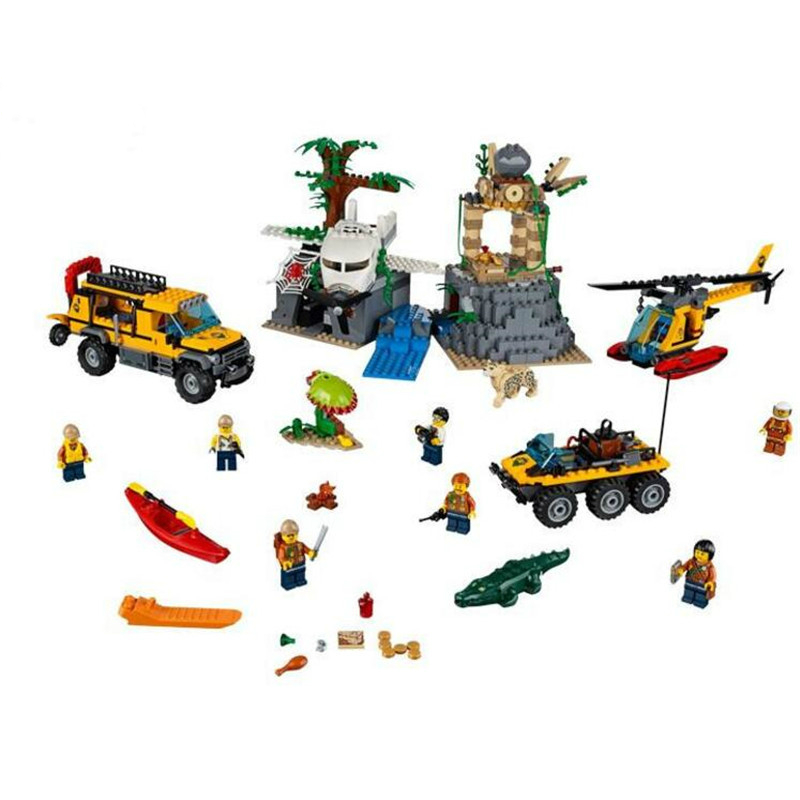 60161 02061 870pcs Jungle Exploration Site Figure Building Blocks Bricks Toys for Children Compatible Legoe City compatible city lepin 02005 889pcs the volcano exploration base 02005 building blocks policeman educational toys for children