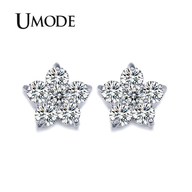 UMODE Classic Austria Cubic Zircon Crystal Five Petals Flower Tiny Cubic Zirconia Elegant Stud Earrings for Women UE0080
