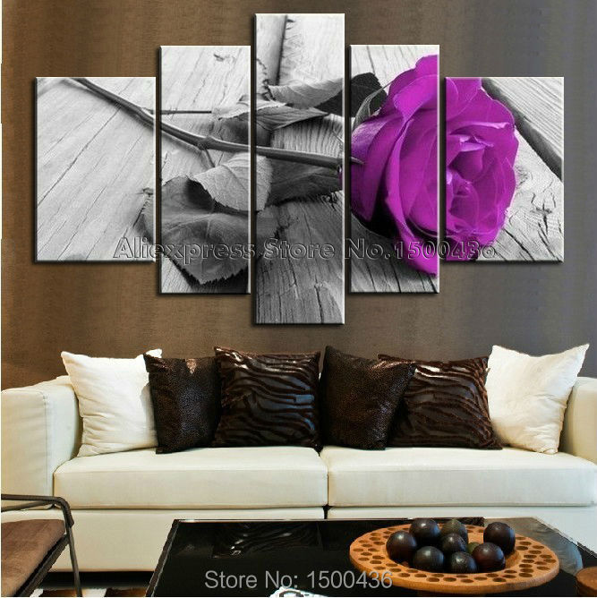 Hand Painted Purple Flower Rose Oil Painting Canvas Large Cheap 5 Piece Wall Art Set Decoration Home Modern Abstract Picture-in Painting u0026 Calligraphy from ... & Hand Painted Purple Flower Rose Oil Painting Canvas Large Cheap 5 ...