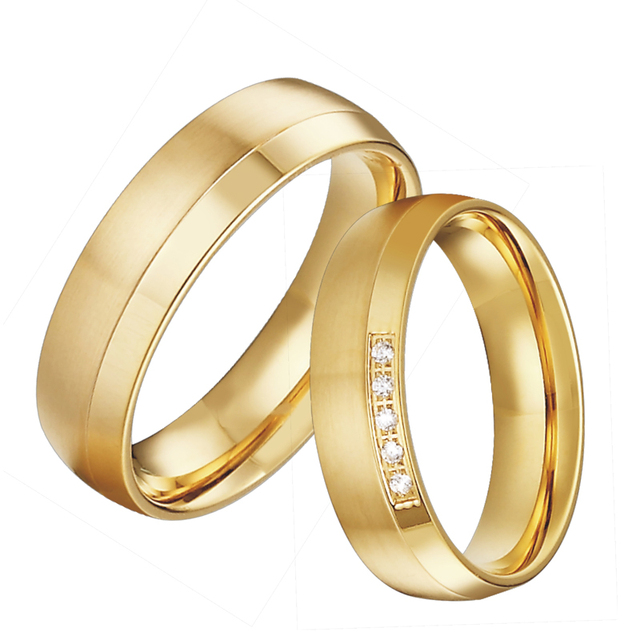 Comfort Fit Anniversary Wedding Band Promise Rings for men Gold color jewelry Allainces Engagement Couple rings for women