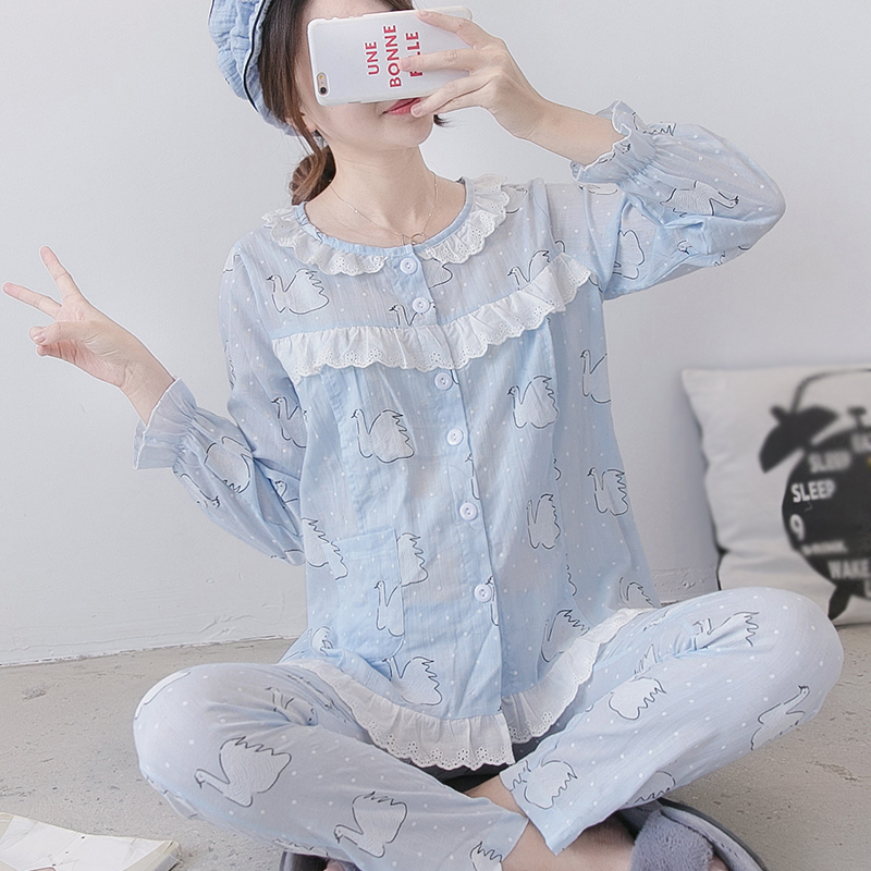 Nursing Pyjama Maternity Pajamas Summer Korean Pregnant Clothing Cotton Maternity Sleepwear Breastfeeding Pajamas Homewear A191