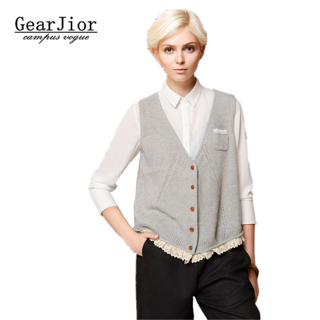 2017 new Loose knitting vest V neck lace hem sweater cardigan ...