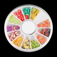 Colorful 12Patterns Mixed Styles Women 3D Tiny Fruit Slice DIY Nail Art Sticker Tips Nail Manicure Decoration Nail Beauty Nail Decorations