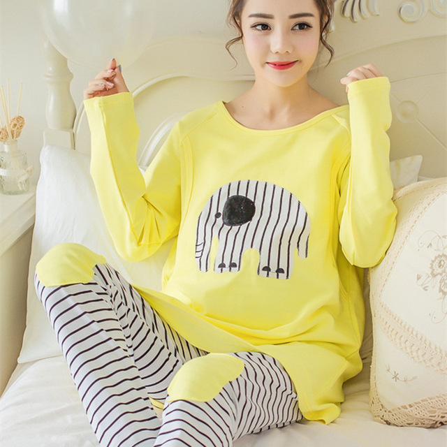 f7aed766c Pijamas de lactancia para amamantar ropa de dormir de maternidad Conjunto  de pijama de lactancia ropa de dormir de maternidad Pijama de algodón en  Para ...