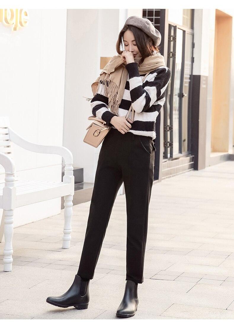 S-3XL Plus Size Women Pants Autumn Winter Vintage Elegant Plaid Office Ladies Casual Loose Harem Pants Ankle Length Trousers 6