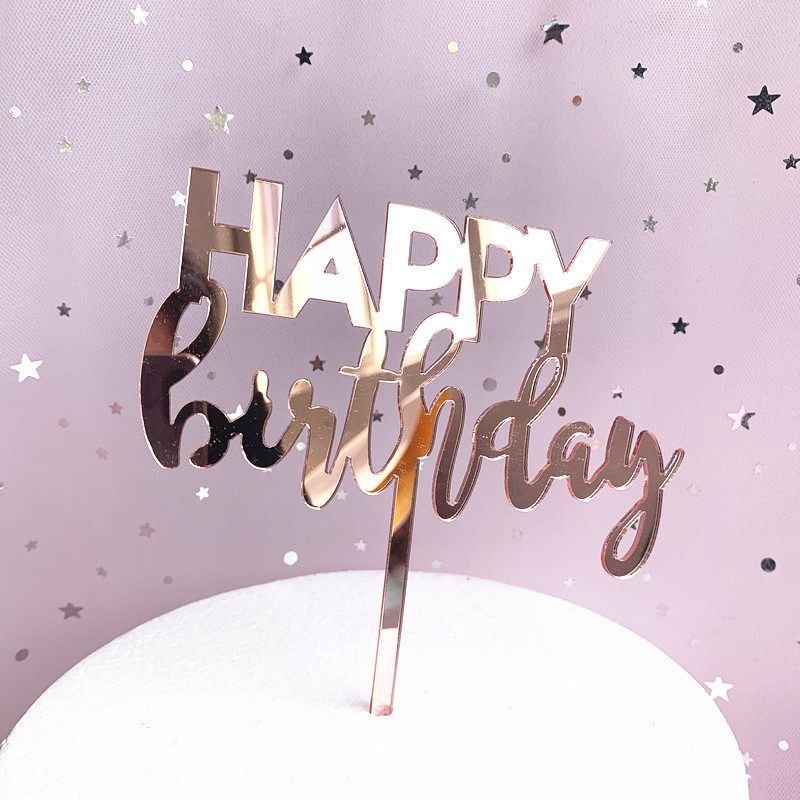 New INS Happy Birthday Acrylic Cake Topper Rose Gold ...