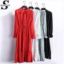 ac92b2f93 SunnyYeah Vestidos de rojo vestido de gasa de verano de las mujeres de Otoño  de 2018 señoras Midi vestido Casual de manga larga .