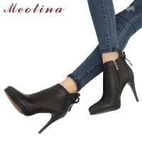 Meotina Genuine Leather Boots Women Shoes Platform High Heel Boots Bow Natural Real Leather Ankle Boots Sexy Female Footwear 40