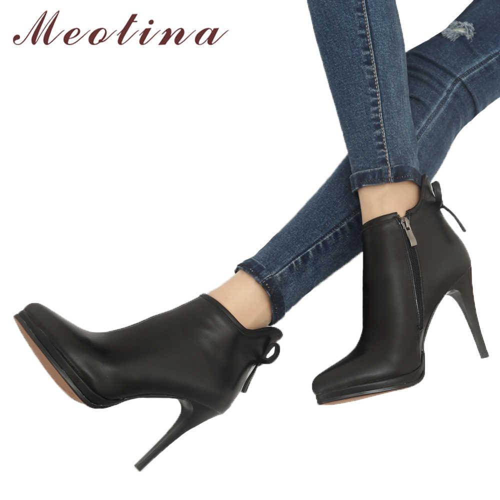 Meotina ของแท้รองเท้าหนังผู้หญิงรองเท้ารองเท้าส้นสูงรองเท้าโบว์ธรรมชาติหนังข้อเท้ารองเท้าเซ็กซี่รองเท้าผู้หญิง 40