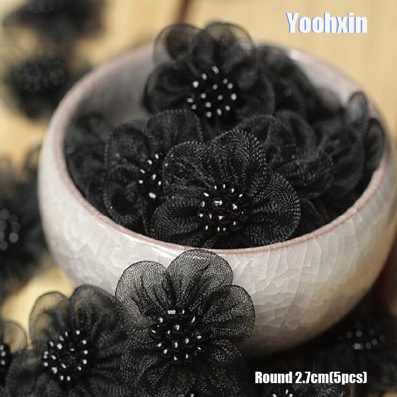 5pcs HOT 3D Black Flower Embroidery Lace Patches Iron On DIY Sewing Beads T Shirt Sticker Iron-on Applique Cloth Dress Decor