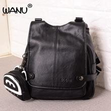Wanu черный рюкзак Для женщин Пояса из натуральной кожи рюкзак Школьные сумки модная Женская дорожная сумка рюкзаки для девочек-подростков