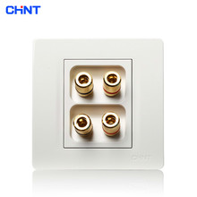 CHINT Electric Socket Connect 86 Type Wall Switch Panel NEW7N Ivory White Four Hole Audio