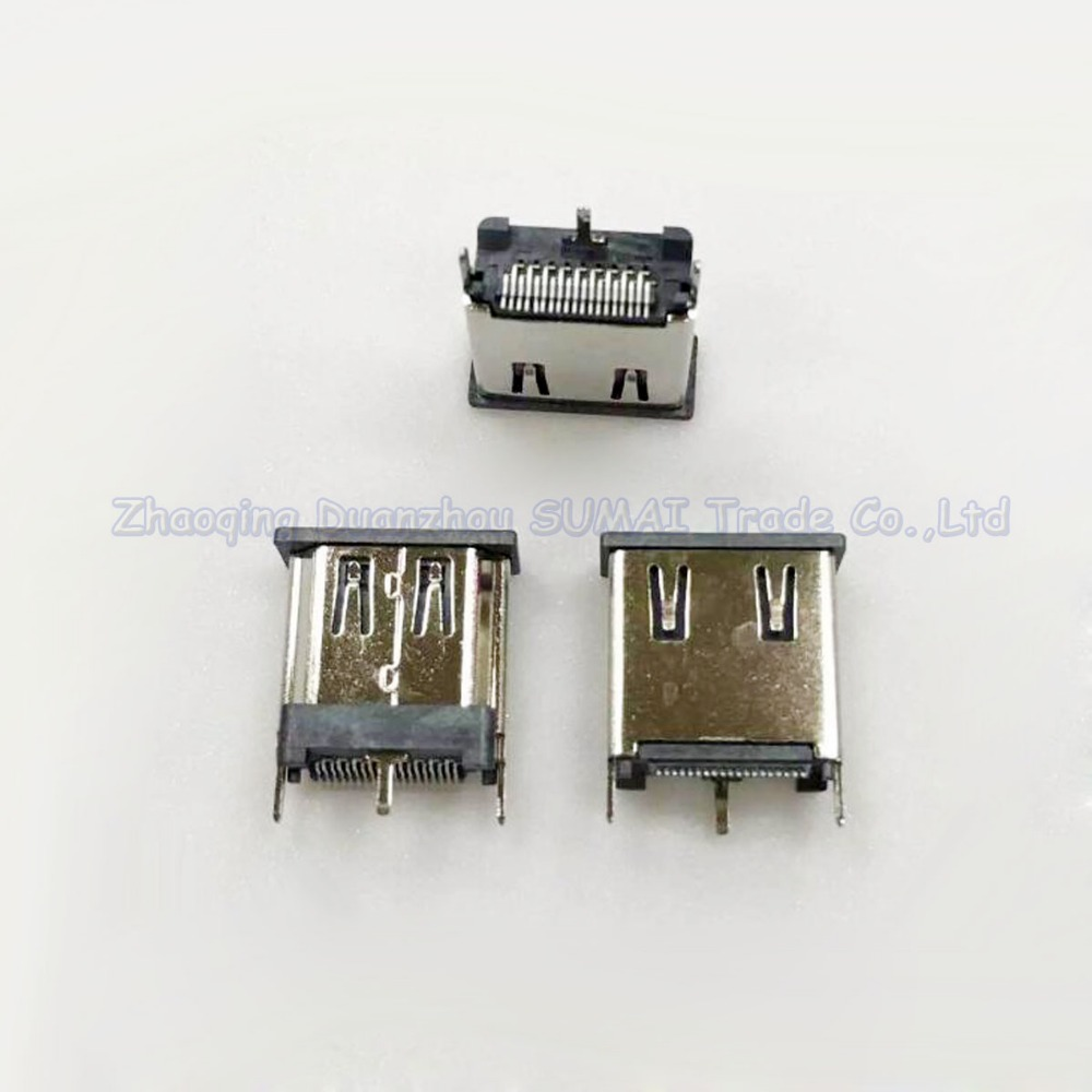 50pcs HDMI Jack 19P Female Socket HDMI Vertical SMT with three fixed feet 15.0H