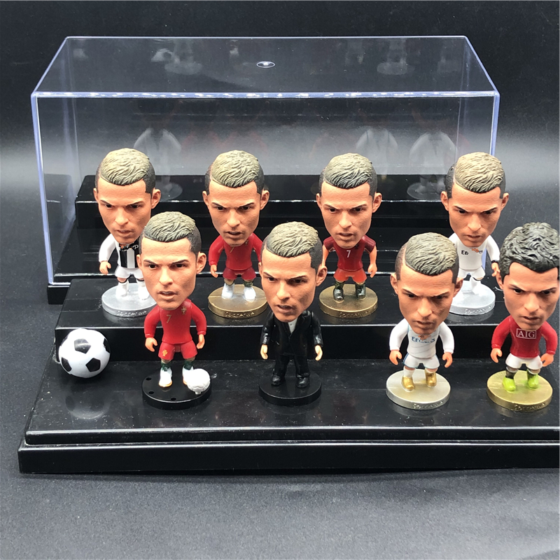 8pcs Soccerwe 6.5 cm Height PVC Cartoon Dolls Ronaldo Pepe Griezmann Pogba Figurines with Show Box for Collections Children Gift-in Dolls from Toys & Hobbies    1
