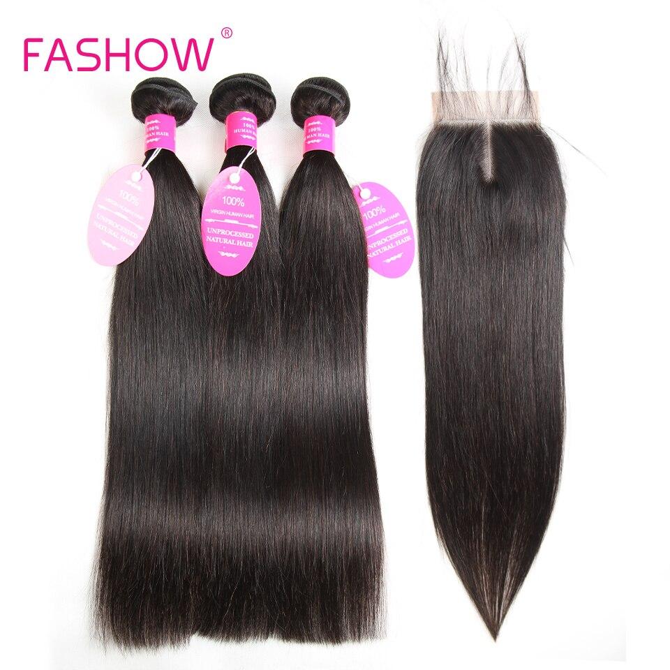 Бразильский Человеческие волосы 3 Связки с Синтетическое закрытие шнурка волос 100% Человеческие волосы ткань расширения, не Реми прямые вол...