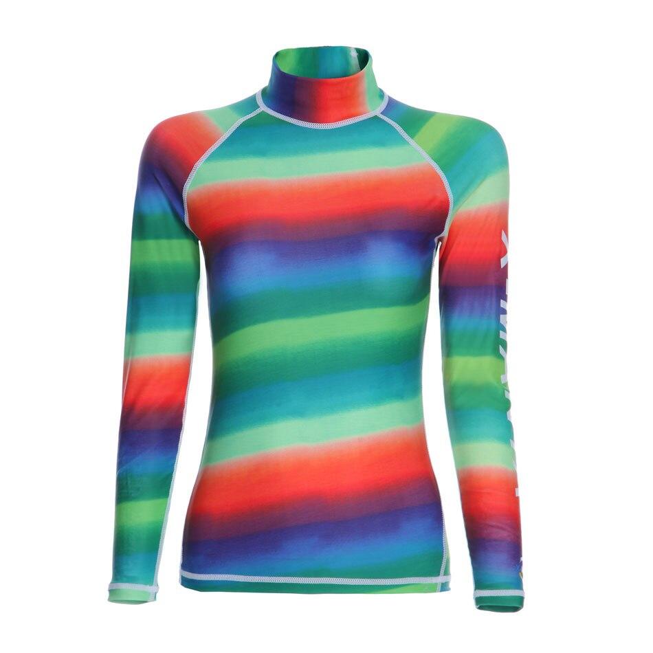 Fresshiping Women's Rainbow Printed Rash Guard Long Full Sleeve Shirt UV Sun Protection Woman's Basic SkinsTop