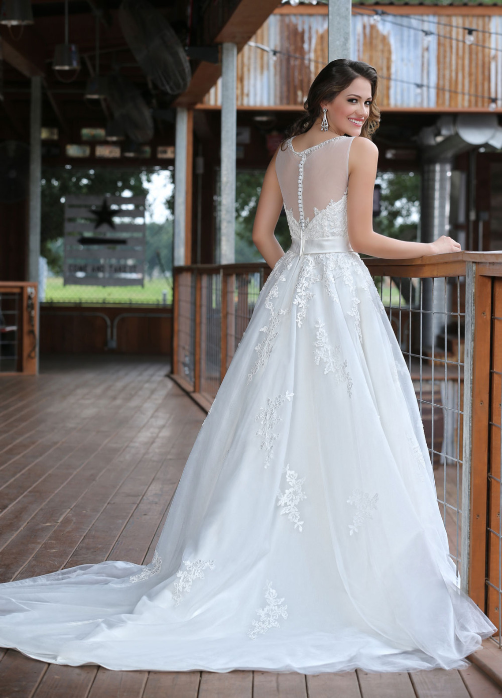Allure Wedding Dress Sheer Neck A Line Flores Para Noivas Beading ...