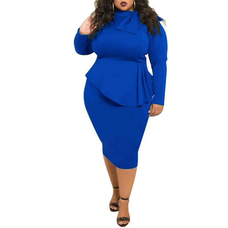 Women Dress Autumn 2018 Elegant Casual Party Bow Neck Knee Length Plus Size  Stretch Bodycon Long 7ea7762dc7be
