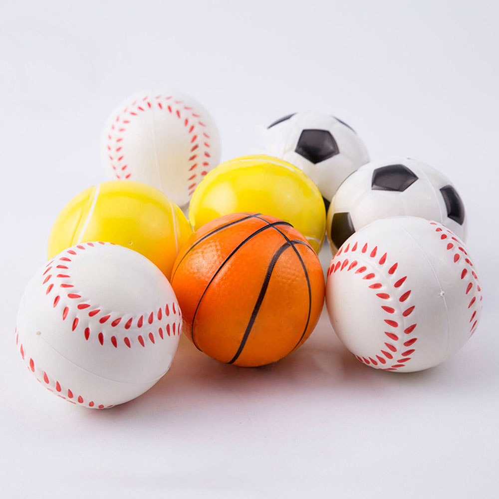 Hand Basketball Baseball Football Tennis Exercise Soft Elastic Squuze Stress Reliever Ball Kid Small Ball Toy Adult Massage Toys