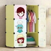 Стабильный 6 двери Детская одежда гардероб Пластик собранный шкаф DIY Костюмы хранения Организатор мебель для дома висит стойки