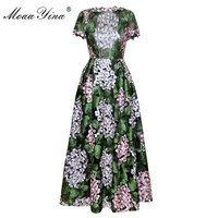 MoaaYina Designer Runway Dress Summer Women Green Leaves Flowers Mesh Embroidery Casual Holiday Bohemia Ball Gown
