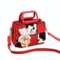 2017 Women Crossbody Bag with Bear Dolls Female Shoulder Ladies Solid Color Tote Messenger Bags For Girls Channels Handbag Sac