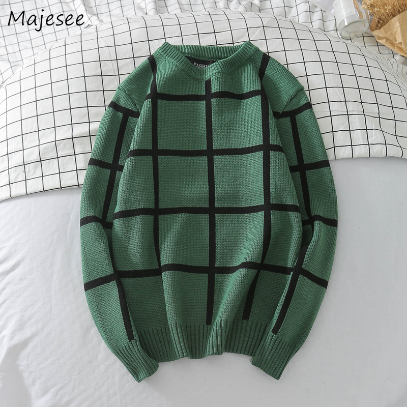 Sweaters Men Winter Thicker Knitting Plaid Retro O-Neck Soft Warm Korean Style All-match Sweater Mens Plaid Retro Chic Pullover